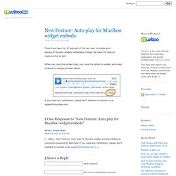 Blog - New Feature: Auto play for Muziboo widget embeds