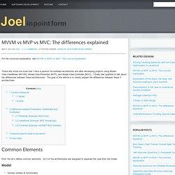 Joel in point form » MVVM vs MVP vs MVC: The differences explained » Joel