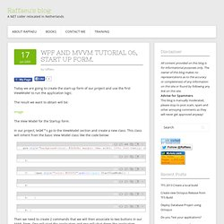 WPF and MVVM tutorial 06, start up form.