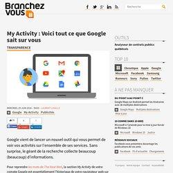 My Activity: Voici tout ce que Google sait sur vous