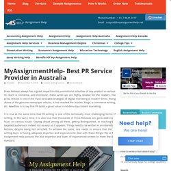 MyAssignmentHelp- Best PR Service Provider in Australia