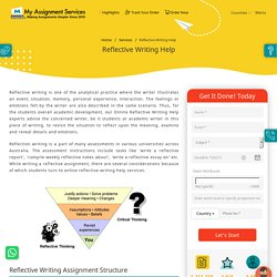 Reflective Writing Help in Australia by Myassignmentservices.com