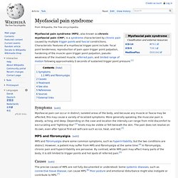 Myofascial pain syndrome