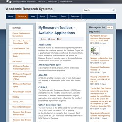 MyResearch Toolbox - Available Applications