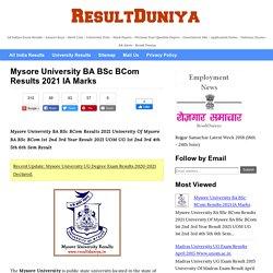 Mysore University BA BSc BCom Results 2020 IA Marks