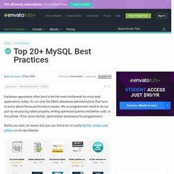 Top 20+ MySQL Best Practices