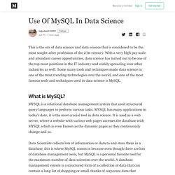 Use Of MySQL In Data Science - Jagadeesh 8899 - Medium