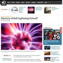 Mystery of Ball Lightning Solved?