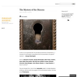 The Mystery of the Masons « PARALLAX