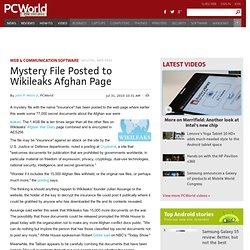 Mystery File Posted to Wikileaks Afghan Page - PCWorld