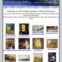 MyStudios.com Virtual Gallery Home - Top Artists, Alphabetical Index