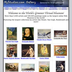 Virtual Gallery Home - Top Artists, Alphabetical Index