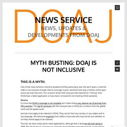 Myth busting: DOAJ is not inclusive – News Service
