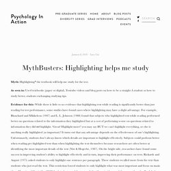 MythBusters: Highlighting helps me study — Psychology In Action