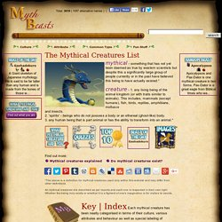Mythical Creatures List