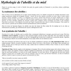 MYTHOLOGIE DE L'ABEILLE ET DU MIEL