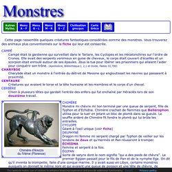 Mythologie grecque : Les monstres
