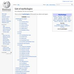 List of mythologies