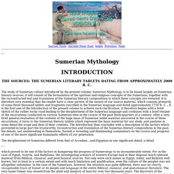 Sumerian Mythology: Introduction