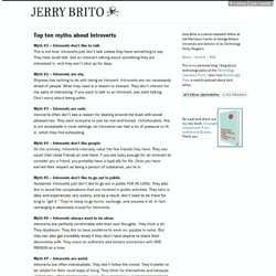 Top ten myths about introverts - Jerry Brito