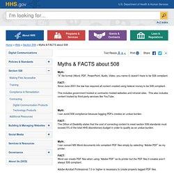 Myths & FACTS about 508