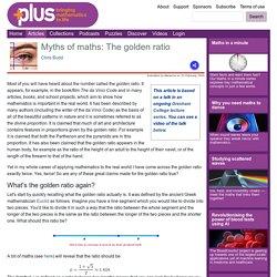 Myths of maths: The golden ratio