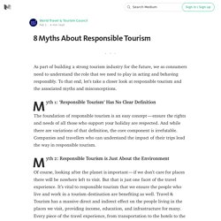 8 Myths About Responsible Tourism
