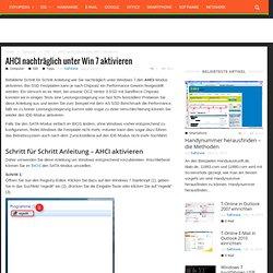 AHCI nachträglich unter Win 7 aktivieren
