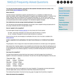 NACLO Frequently Asked Questions
