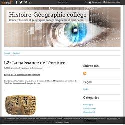 L2 : La naissance de l'écriture - Histoire-Géographie collège