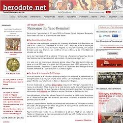 loi du 7 germinal an XI (27/03/1803) le franc germinal