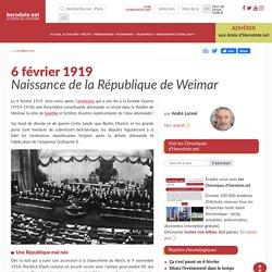 6 février 1919 - Naissance de la République de Weimar - Herodote.net
