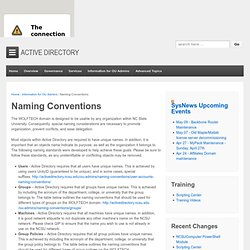 Naming Conventions « NC State Active Directory