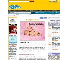 Naming Twin Babies