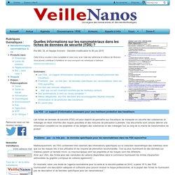 VEILLE NANOS 12/06/14 Quelles informations sur les nanomatériaux dans les fiches de données de sécurité (FDS) ?