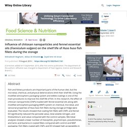 Food Sci Nutr. 2019 Aug 19;7(9) Influence of chitosan nanoparticles and fennel essential oils (Foeniculum vulgare) on the shelf life of Huso huso fish fillets during the storage.