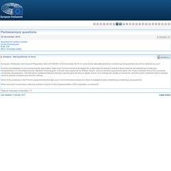 PARLEMENT EUROPEEN - Réponse à question E-009065-16 Nanoparticles in food