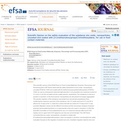 EFSA 13/04/15 Scientific Opinion on the safety evaluation of the substance zinc oxide, nanoparticles, uncoated and coated with [3-(methacryloxy)propyl] trimethoxysilane, for use in food contact materials