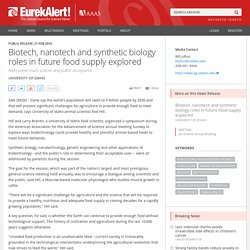 EUREKALERT 21/02/10 Biotech, nanotech and synthetic biology roles in future food supply explored