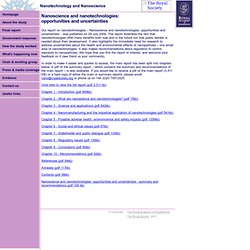 The Royal Academy of Engineering - Rapport - Nanoscience and nanotechnologies: opportunities and uncertainties