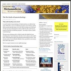 The five kinds of nanotechnology — Metamodern