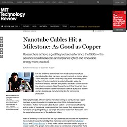 Nanotube Cables Hit a Milestone: As Good as Copper