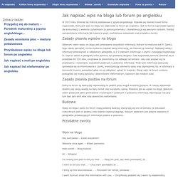 Jak napisać wpis na bloga lub forum po angielsku - Po angielsku - Język angielski dla każdego