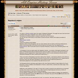 Napoleon's origins - History Forum ~ All Empires - Page 1