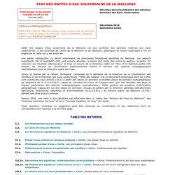 Etat des nappes d'eau souterraine de la Wallonie
