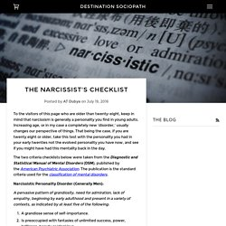 The Narcissist's Checklist – Destination Sociopath