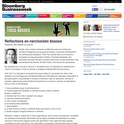 Toxic Bosses Reflections on narcissistic bosses