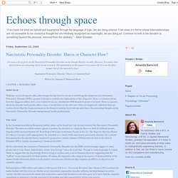 Echoes through space: Narcissistic Personality ...