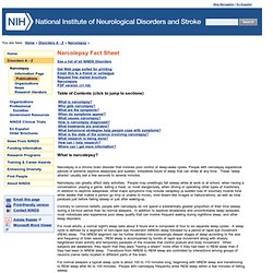 Narcolepsy Fact Sheet