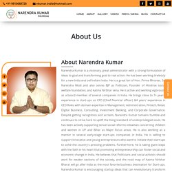 Narendra Kumar is Politician, Founder of Hindrise social welfare foundation.